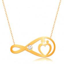 Złoty naszyjnik 375 - subtelny łańcuszek, symbol nieskończoności z bezbarwną cyrkonią i sercem