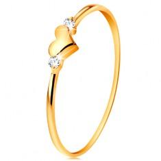 Pierścionek z żółtego 585 złota - dwie bezbarwne cyrkonie i lśniące wypukłe serduszko
