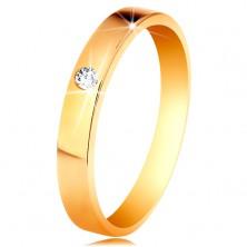 Pierścionek z żółtego 585 złota - lśniąca gładka powierzchnia, okrągła bezbarwna cyrkonia