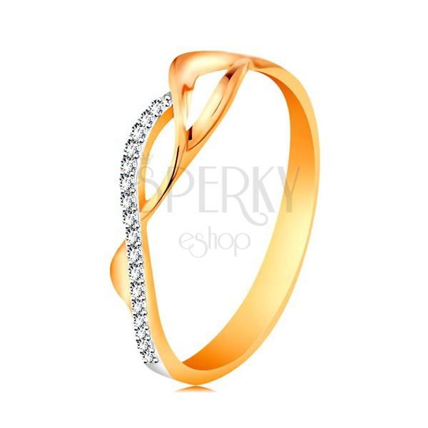 Złoty pierścionek 585, asymetryczne przeplecione fale - dwie gładkie i jedna cyrkoniowa