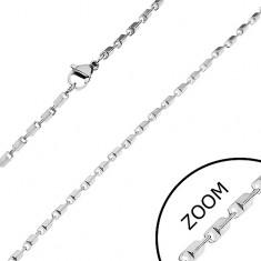 Stalowy łańcuszek w srebrnym odcieniu - lśniące ścięte prostokąty, 2 mm