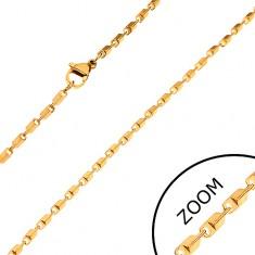 Stalowy łańcuszek złotego koloru - lśniące ścięte prostokątne ogniwa, 2 mm