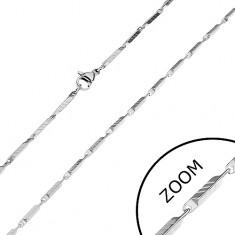 Stalowy łańcuszek w srebrnym odcieniu - wąskie prostokątne ogniwa z nacięciami, 2 mm