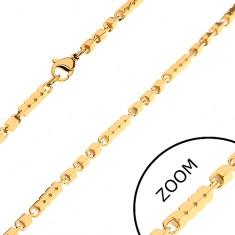 Łańcuszek ze stali chirurgicznej złotego koloru, długie i krótkie prostokątne ogniwa, 3 mm