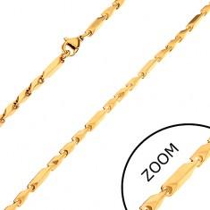 Łańcuszek ze stali chirurgicznej, złoty odcień, długie i krótkie prostokątne ogniwa, 3 mm