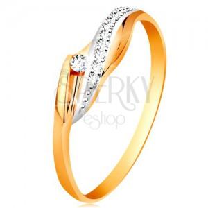 Złoty 585 pierścionek  - lśniące faliste ramiona, błyszcząca bezbarwna fala i cyrkonia