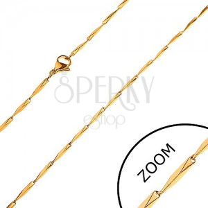 Łańcuszek ze stali 316L, ścięte prostokątne ogniwa złotego koloru, 1,5 mm