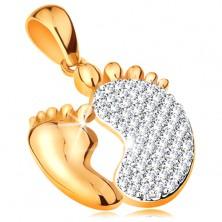 Zawieszka ze złota 585 - dwie stopy - gładka mniejsza i cyrkoniowa większa