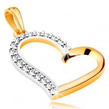 Zawieszka ze złota 585 - nieregularny zarys serca z cyrkoniową połową