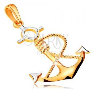 Zawieszka z dwukolorowego złota 585 - kotwica z owiniętą liną