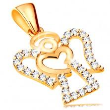 Zawieszka z żółtego 585 złota - cyrkoniowy zarys aniołka, lśniące serduszko