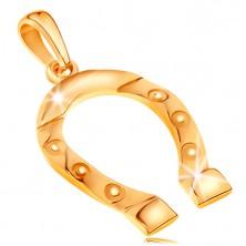 Zawieszka z żółtego złota 585, symbol szczęścia - podkowa, wygrawerowane kółeczka