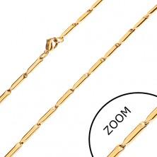 Stalowy łańcuszek w złotym odcieniu, lśniące podłużne walce, 3 mm