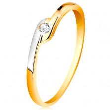 Pierścionek ze złota 585 - okrągła bezbarwna cyrkonia, dwukolorowe przedłużone końce ramion