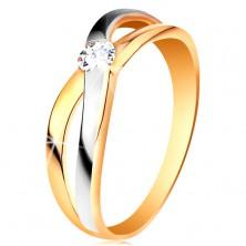 Pierścionek ze złota 585 - okrągła cyrkonia bezbarwnego koloru, rozdzielone skrzyżowane ramiona