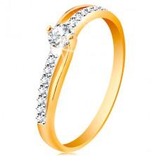 Złoty pierścionek 585 z rozdzielonymi dwukolorowymi ramionami, bezbarwne cyrkonie