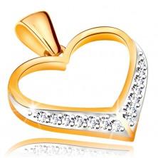 Zawieszka ze złota 585 - zarys symetrycznego serca, cyrkonie w dolnej części