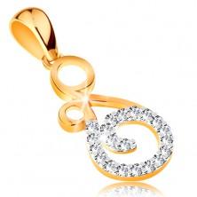 Zawieszka ze złota 585 - ornament z zakręconą linią bezbarwnych cyrkonii