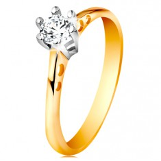 Złoty 585 pierścionek - okrągłe wycięcia na ramionach, bezbarwna cyrkonia w koszyczku z białego złota