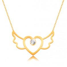 Naszyjnik z żółtego 375 złota- kontur skrzydlatego serca, cienki łańcuszek