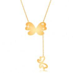 Złoty 375 naszyjnik - większy motyl z wiszącym zarysem mniejszego motylka