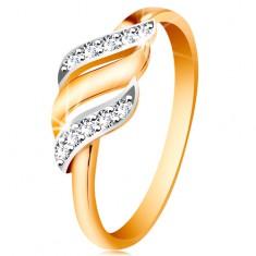 Złoty pierścionek 585 - trzy fale z białego i żółtego złota, błyszczące bezbarwne cyrkonie