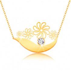 Naszyjnik z żółtego 375 złota - szeroki łuk, kwiatki, bezbarwna cyrkonia i subtelny łańcuszek