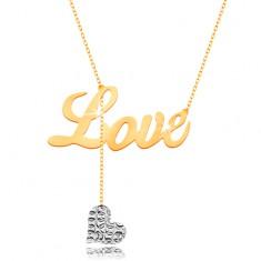 Naszyjnik ze złota 375 - napis Love, wiszące serduszko z białego złota na łańcuszku