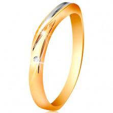 Dwukolorowy pierścionek ze złota 585 - fala z białego złota, drobna bezbarwna cyrkonia