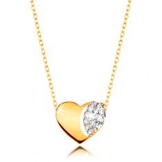 Naszyjnik z żółtego 375 złota - subtelny łańcuszek, lśniące serce z bezbarwnymi cyrkoniami