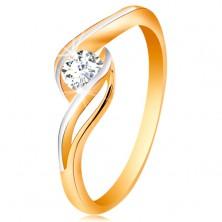 Złoty pierścionek 585 - bezbarwna cyrkonia, rozdzielone i faliste ramiona