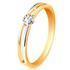 Złoty pierścionek 585, cienkie dwukolorowe ramiona z wycięciem i bezbarwną cyrkonią
