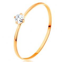 Pierścionek z żółtego 585 złota - cienkie ramiona, okrągły diament bezbarwnego koloru