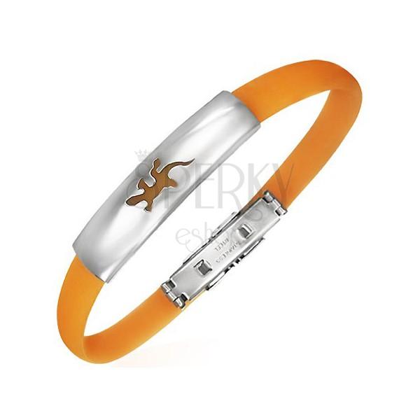 Płaska gumowa bransoletka - jaszczurka, pomarańczowa