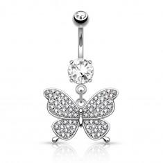Stalowy piercing do pępka srebrnego koloru, błyszczący motyl, bezbarwne cyrkonie