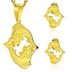 Zestaw ze stali 316L złotego koloru - zawieszka i kolczyki, znak zodiaku RYBY