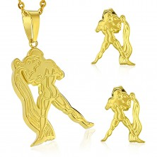 Zestaw ze stali złotego koloru - zawieszka i kolczyki wkręty, znak zodiaku WODNIK