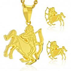Zestaw ze stali zlotego koloru, kolczyki i zawieszka, znak zodiaku STRZELEC