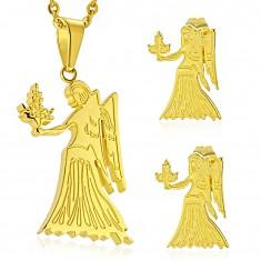 Zestaw ze stali chirurgicznej złotego koloru, zawieszka i kolczyki, znak zodiaku PANNA