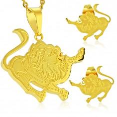 Stalowy zestaw złotego koloru, kolczyki i zawieszka, znak zodiaku LEW