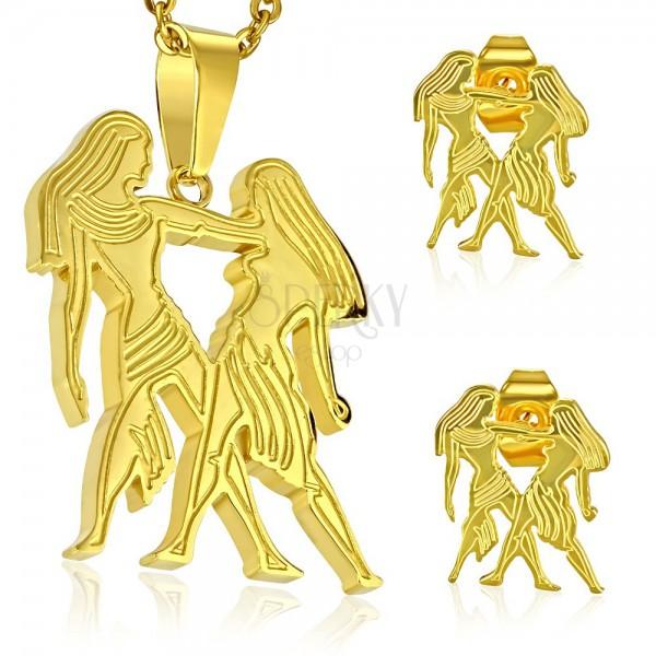 Zestaw ze stali chirurgicznej w złotym odcieniu, zawieszka i kolczyki, znak zodiaku BLIŹNIĘTA