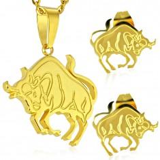 Zestaw ze stali złotego koloru - zawieszka i kolczyki wkręty, znak zodiaku BYK