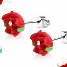 Stalowe kolczyki wkręty, czerwona różyczka z masy FIMO, bezbarwna cyrkonia w środku