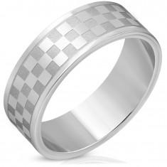 Stalowa obrączka w srebrnym odcieniu - matowe i lśniące kwadraty
