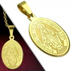 Zawieszka ze stali chirurgicznej, złoty odcień, owalny medalion z Maryją Panną