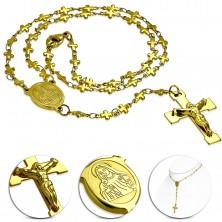 Naszyjnik ze stali 316L złotego koloru - różaniec z medalionem Panny Marii