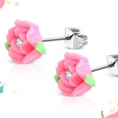 Stalowe kolczyki wkręty, różowy kwiat róży z masy FIMO, bezbarwna cyrkonia w środku