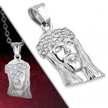 Stalowa zawieszka srebrnego koloru, głowa Jezusa Chrystusa, korona z cyrkonii