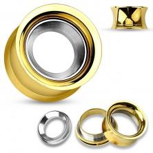 Stalowy tunel do ucha złotego koloru z kołem w srebrnym odcieniu, wysoki połysk