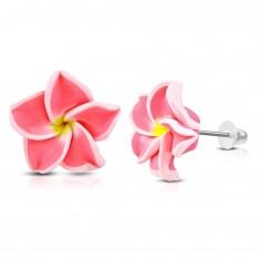 FIMO kolczyki, kwiat z neonowo różowymi płatkami i żółtym środkiem